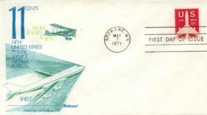 1971 11c Airliner Airmail Coil Stamp (Scott C82) Fleetwood