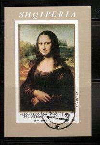 JACONDA MONA LISA Painting Leonardo da Vinci = Imperf Souvenir sheet Albania