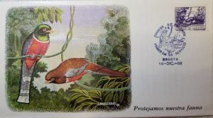 L) 1988 COLOMBIA, BIRD, FAUNA, NATURE, TREE, SOLEDAD ENMASCARADA, FDC