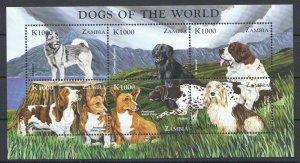 PK055 ZAMBIA FAUNA PETS DOGS OF THE WORLD 1KB MNH STAMPS