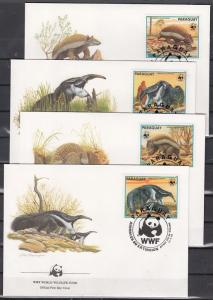 Paraguay, Scott 2252 A-D. Anteaters, W.W.F. issue on 4 First day covers.