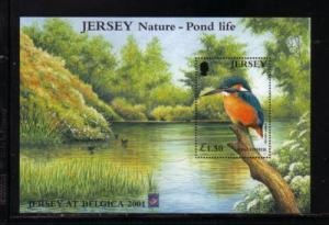 Jersey  Sc 995a 2001 Kingfisher Belgica stamp sheet NH