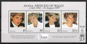 1998 Tonga 980 Princess Diana Memorial Fund MNH S/S