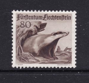 Liechtenstein an 80r Badger from the 1946 set MNG
