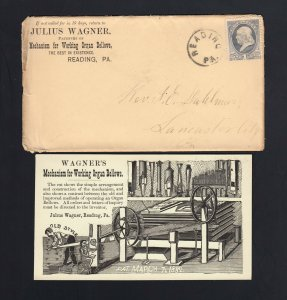 PENNSYLVANIA: Reading 1882 Wagner's WORKING ORGAN (LUNG) Env/Circulars/Card
