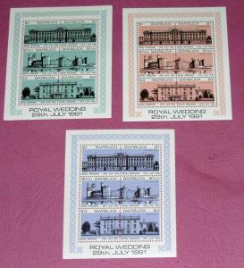 Barbuda - 493-5, MNH S/S Set - Royal Wedding. SCV - $9.00