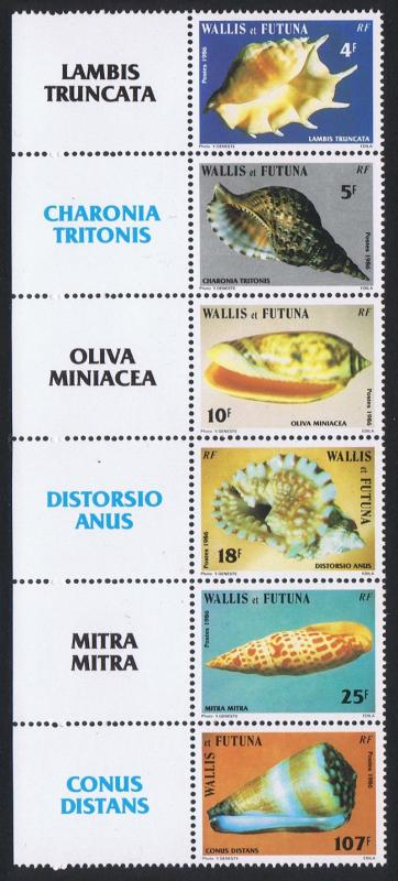 Wallis and Futuna Sea Shells strip of 6v with Latin Names on Left label