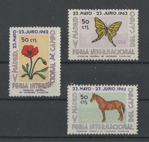 Spain MNH Set Flora & Fauna Madrid Fair 1962