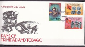 Trinidad, Scott cat. 560, 62, 64. Music Instruments & Singer. First Day Cover. ^