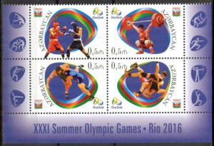 Azerbaijan 2016 Olympics Games Rio-2016 Boxing Wrestling Set of 4 MNH**