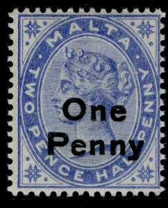 MALTA EDVII SG37, 1d on 2½d bright blue, NH MINT.