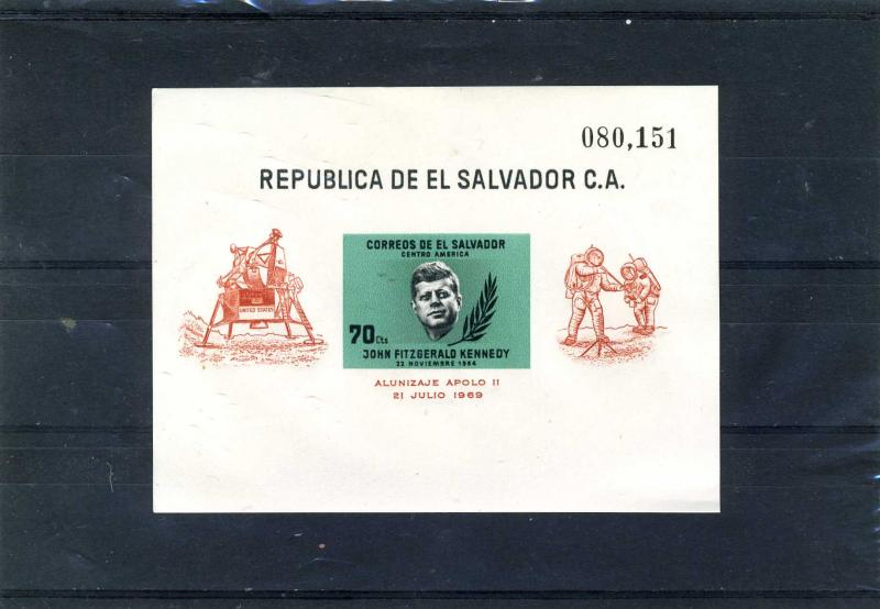 El Salvador 1969 Kennedy Green s/s Imp. Numbered mnh.vf