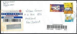 SINGAPORE 2002 Registered cover to New Zealand, GHIM MOI ESTATE cds........11811
