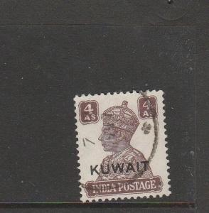 Kuwait 1945 GV1 white Background, 4As Used SG 60