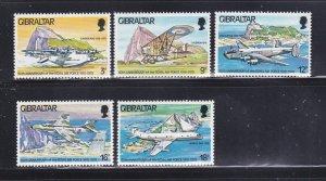 Gibraltar 369-373 Set MNH Planes (A)