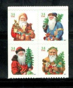 3541-44 (3544a) Christmas Santa's Block Of 4 Mint/nh (Free Shipping)