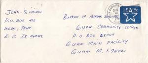 Caroline Islands 18c Star Envelope 1981 Truk Caroline Islands TT 96942 to Gua...