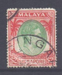 Malaya Straits Setts Scott 251 - SG291, 1937 George VI $2 Die I used