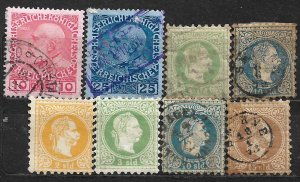 COLLECTION LOT OF 8 AUSTRIA 1867+ OFFICES STAMPS CV = $44