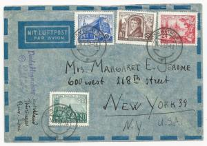 Germany DDR Scott #151-154 on Cover Air Mail to New York USA July 14, 1953