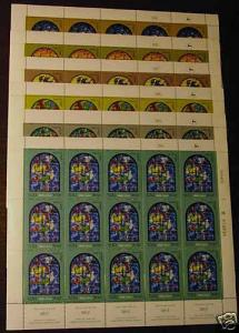 Israel 515-20 Sheets creased selvedge MNH Art, Chagall, Stained Glass Windows