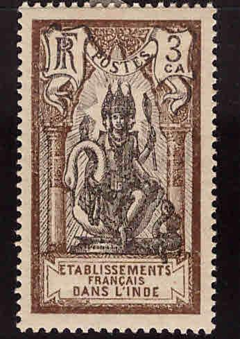 FRENCH INDIA  Scott 82 MH*  Brahma stamp with similar centering