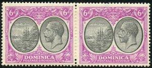 Dominica Scott 76 Unused LHOG Pair - 1923 Colony Seal & George V - SCV $11.00