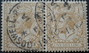 Great Britain 1912 GV One Shilling pair SG 395 used