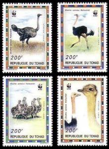 Chad Birds WWF North African Ostrich 4v MI#1370-1373 SC#693 a-d