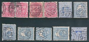 NEW SOUTH WALES QV 1d & 2d x 11 with numeral cancels.......................A109