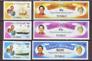 J22386 Jlstamps 1981 tuvalu set mh #157-162 royal wedding