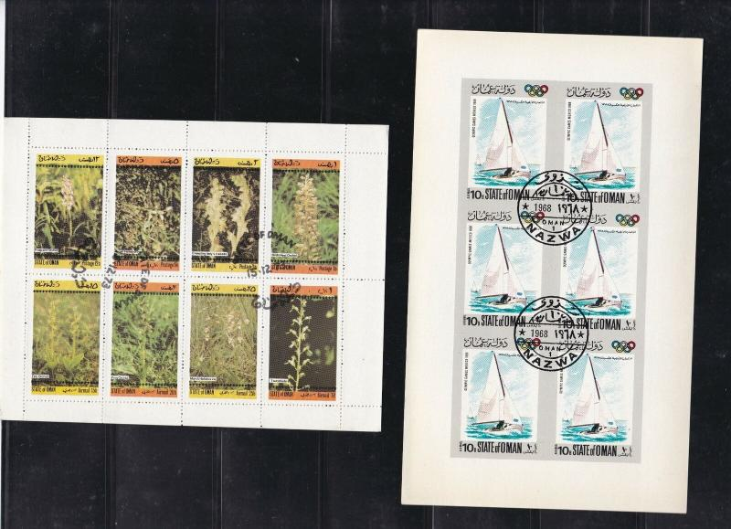 State of Oman 2 x Stamps Sheets Boats & Plants Ref 26963