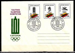 Lithuania, Scott cat. 422-424. Albertville W. Olympics issue. First day cover.