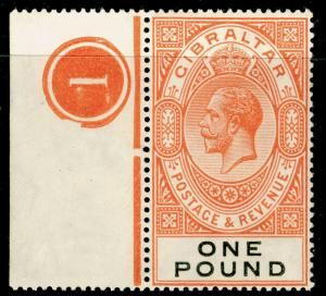 GIBRALTAR SG107, £1 red-orange, VLH MINT. Cat £190. CONTROL.