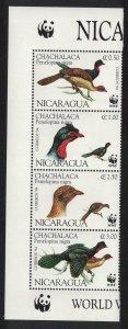 Nicaragua Birds WWF Highland Guan Strip of 4v with WWF Logo SG#3509-3512