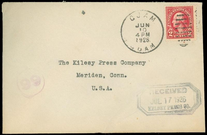 JUNE 10 1926 GUAM CDS Cover to KELSEY PRESS CO, Meriden CT, US Franking, SC #599