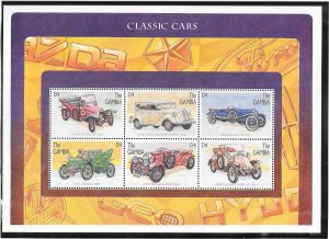 Gambia #1746  4d  Classic Cars  Sheet  of 6 (MNH) CV5.75