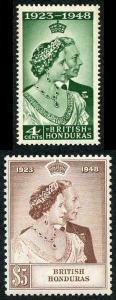 British Honduras SG164/5 1948 Silver Wedding Set U/M (4c a bit toned)