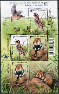 Belarus 2021. Endangered species of animals (MNH OG) Miniature Sheet