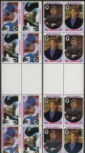 Montserrat 615-6 Gutter Pair Blocks  Specimen o/p MNH Prince Andrew Wedding