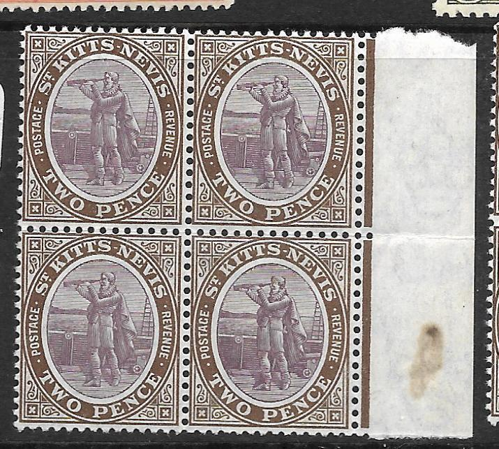 ST KITTS NEVIS  (P1010B) 2D COLOMBUS SG 15 BL OF 4  MNH
