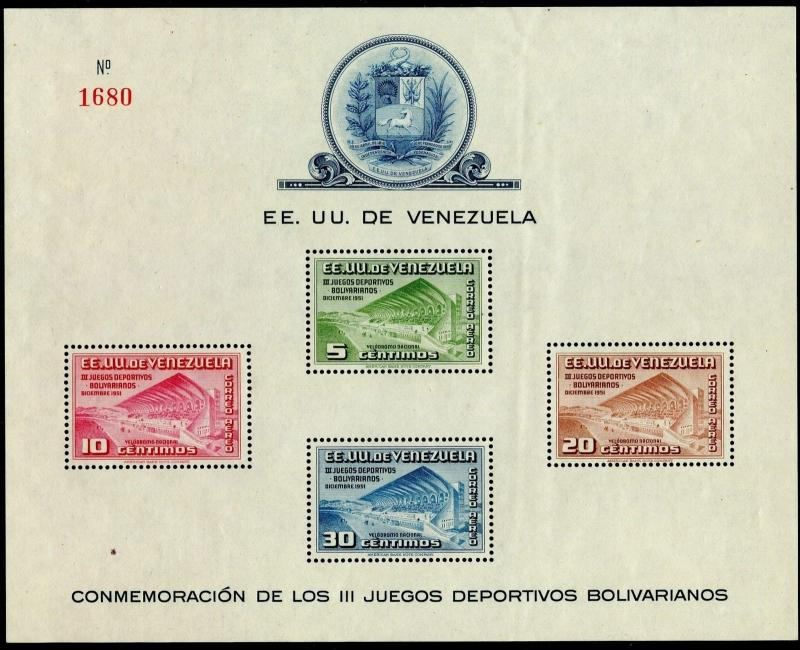 VENEZUELA Sc#C337a 1951 Bolivarian Games Souvenir Sheet  Mint NH