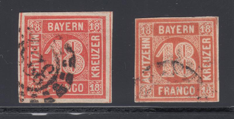 Bavaria Sc 14, 14a used 1862 18kr vermilion red & light red Numerals