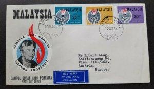 Malaysia Eleanor Roosevelt Commemoration 1964Globe Snake (FDC) *addressed