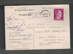 1944 Germany Stalag 8A Prisoner of War POW Postcard Cover Australia H Richardson