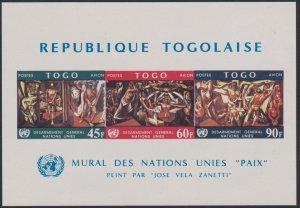 Togo #C78a YTBF27 MNH S/S CV$6 UN General Disarmament/Peace Mural/Zanetti Imperf
