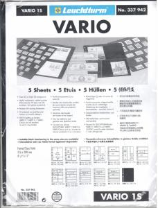 Lighthouse Vario 1S to 8S Stock Stamp Pages Professional - 5 black pages -- NEW