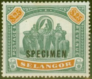 Selangor 1897 $25 Green & Orange Specimen SG66s Fine & Fresh Lightly Mtd Mint