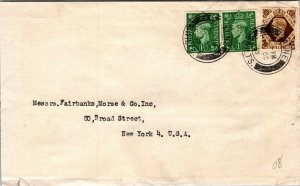 Calne Wiltshire UK > Fairbanks Morse & Co NYC NY 1952 3 stamps