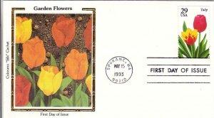 1993, Garden Flowers-Tulip, Colorano Silk, FDC (D13410)